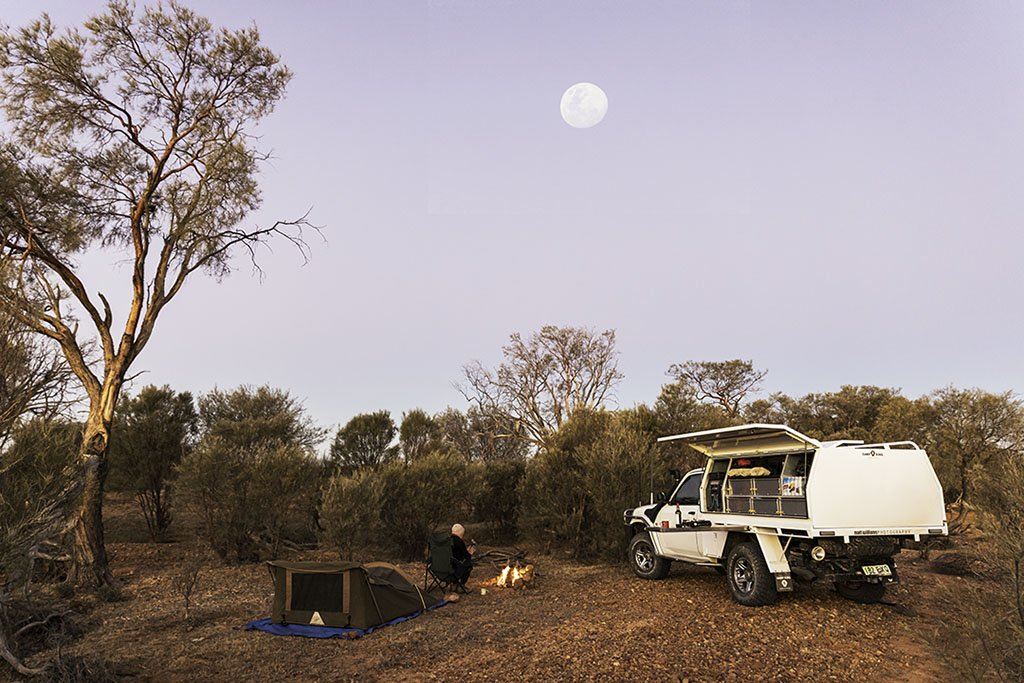 The full moon rises over our camp on the Birdsville Track