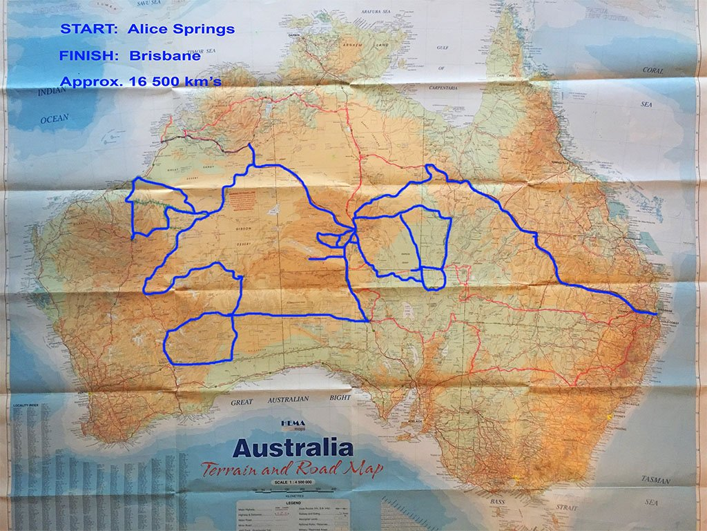 A map of Australia showing where we drove on a trip in 2016 on some of Australia's greatest desert tracks - Drives Destinations