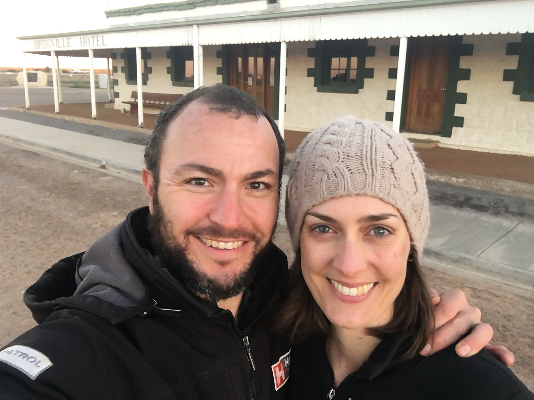 Matt and Marianne out the front of the Birdsville Hotel