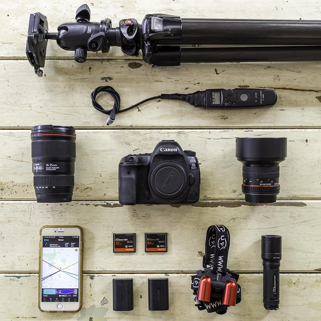 Astrophotography equipment for beginners flat lay