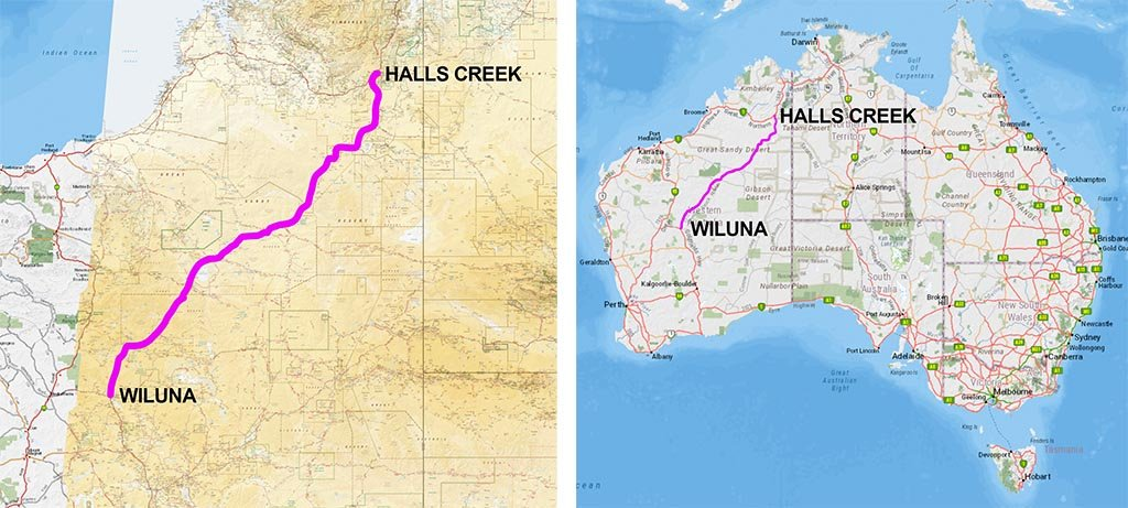 Canning Stock Route map in Western Australia.