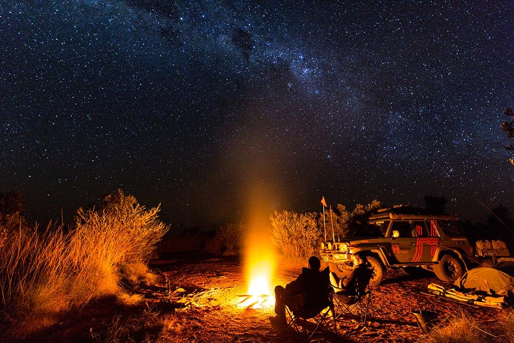 Campfire under the stars at Well 49 on the Canning Stock Route