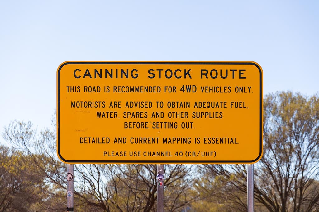Warning Sign at the start of the Canning Stock Route from the south