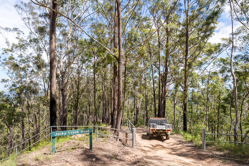 Heading past the gates on Jacky Creek road in D'Aguilar National Park 4WD TRACKS BRISBANE
