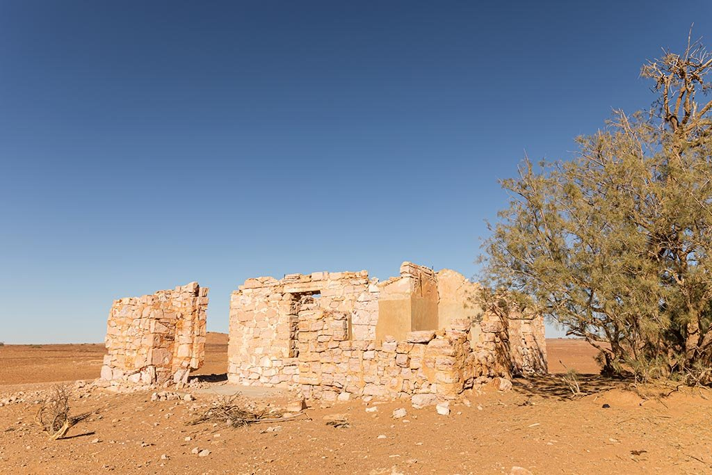 Building ruins at Lake Harry on the Birdsville Track north of Marree, South Australia