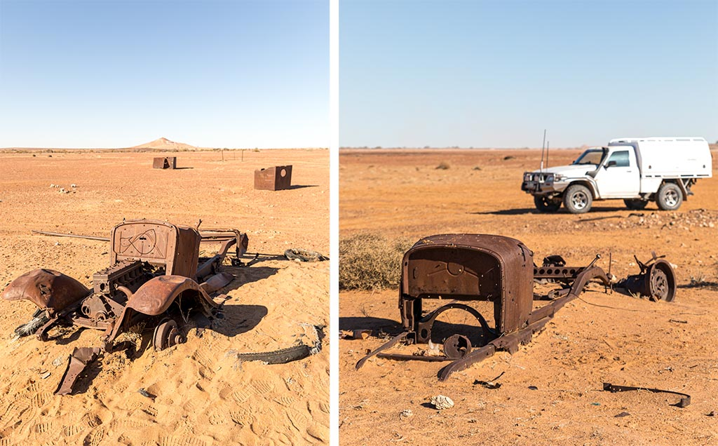 Vehicle ruins at Lake Harry on the Birdsville Track north of Marree, South Australia