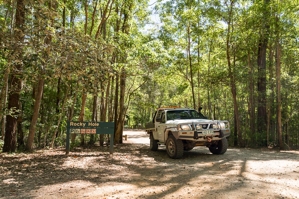 Leaving Rocky Hole swimming hole on Neurum Creek 4WD Tracks Brisbane