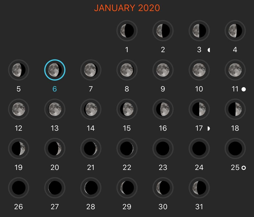 Moon Phase calendar is a perfect tool for astrophotography for beginners