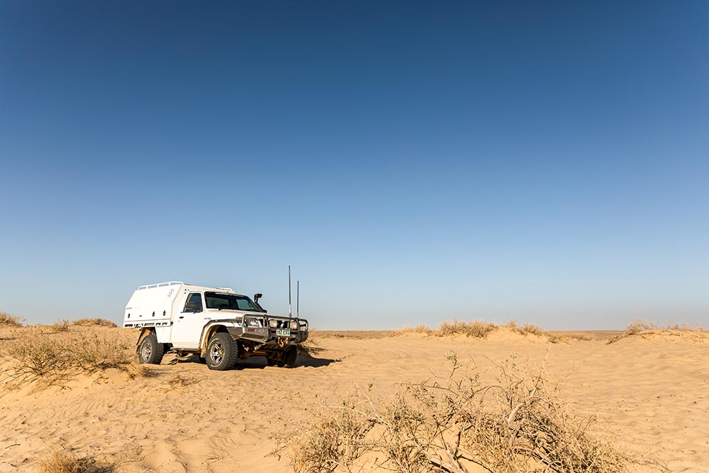 Our ute parked up on the edge of Lake Eyre North at Level Post Bay