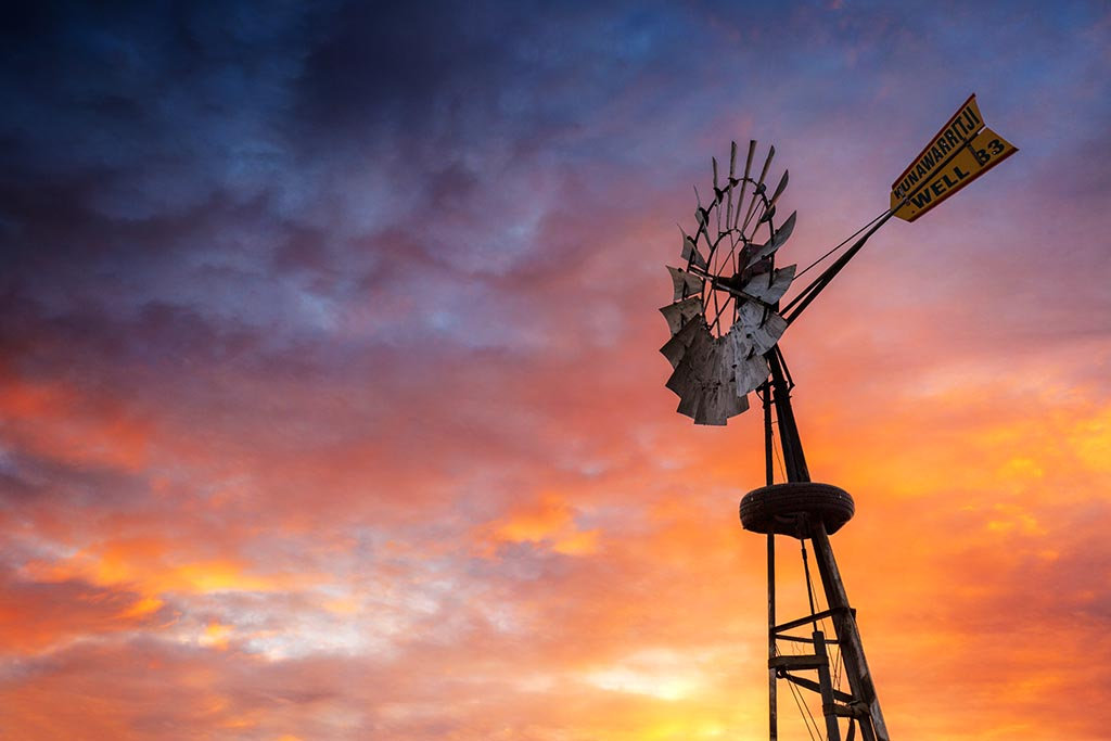 Windmill and Sunset at Well 33