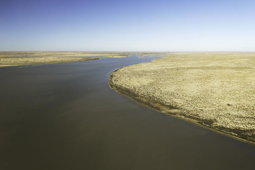 The mouth of the Warburton River at the northern end of Lake Eyre