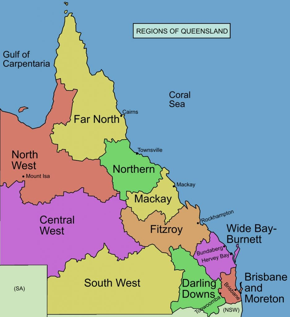 Map of the various regions of Queensland