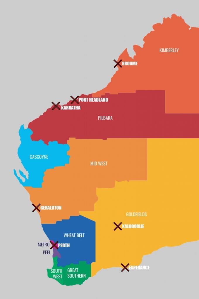 Map of Western Australia Regions