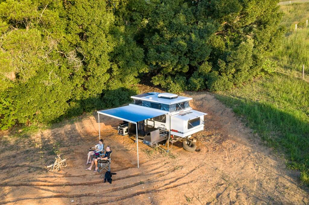 Aerial view of hybrid camper trailer set up