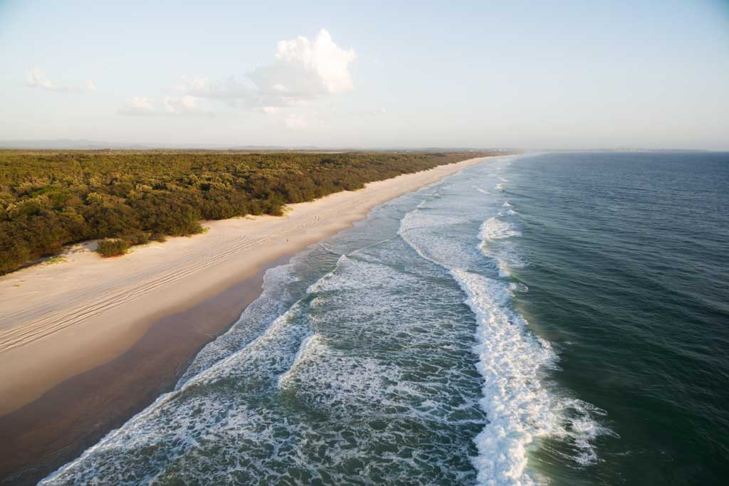 Aerial view of Bribie Island - How to drive on the sand