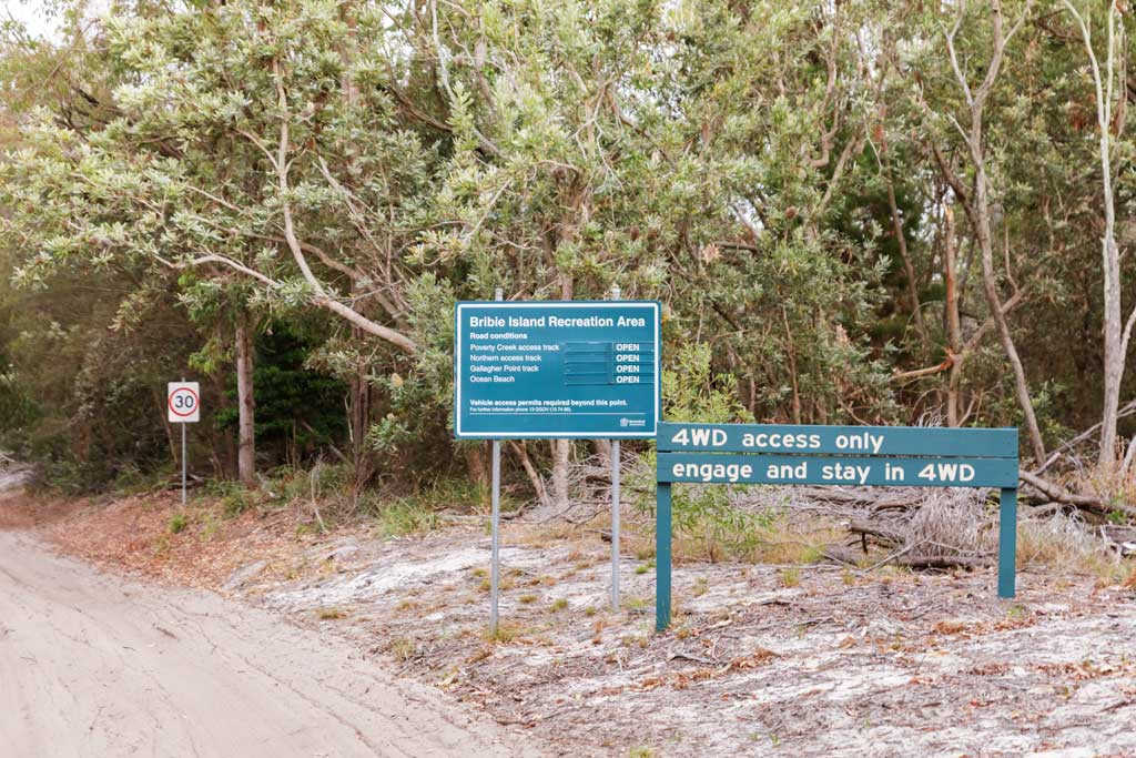 Bribie Island Beach Entry Signage - How to drive on sand