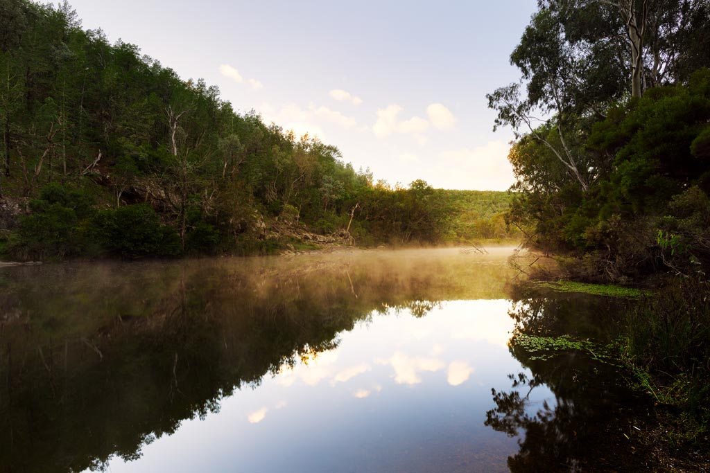 Reflections on Burrows Waterhole at dawn
