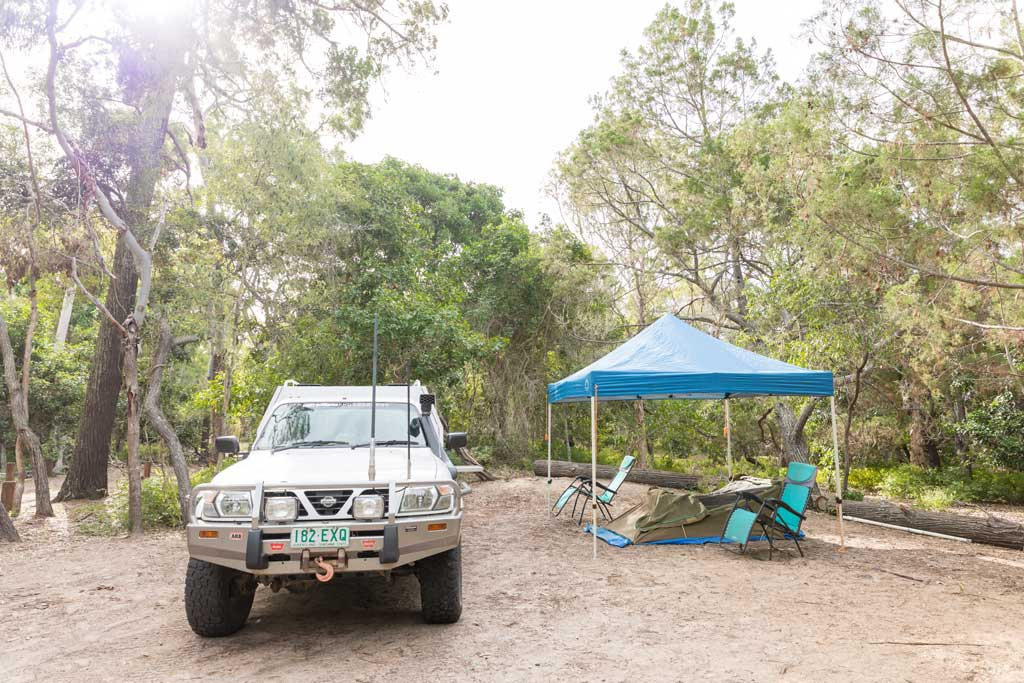 Basic camping set up at Burrum Point, Burrum Coast National Park