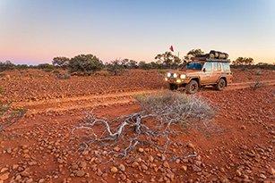 4WD on a rocky plain