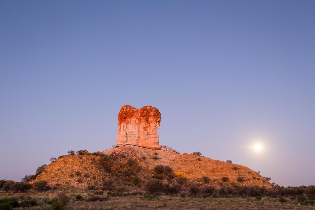 Full moon rising at Chambers Pillar