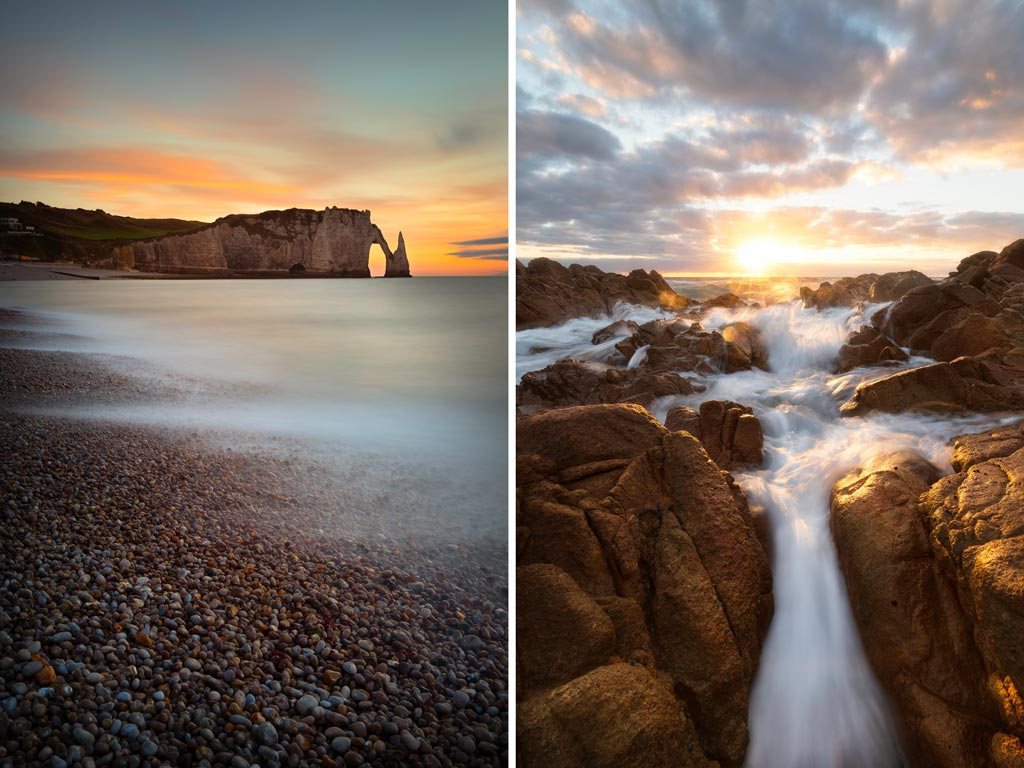 Two seascape images. one at sunrise, the other at sunset - 6 tips to improve your landscape photography