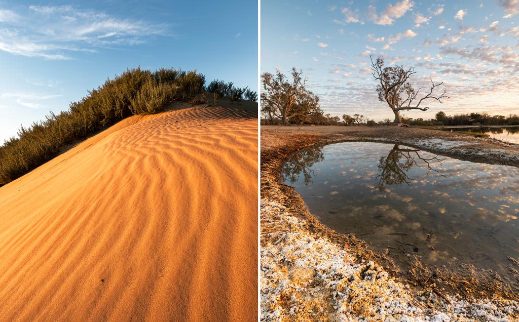 Two images taken early in the morning - One sand dune and the other a salt encrusted lagoon 6 tips to improve your landscape photography