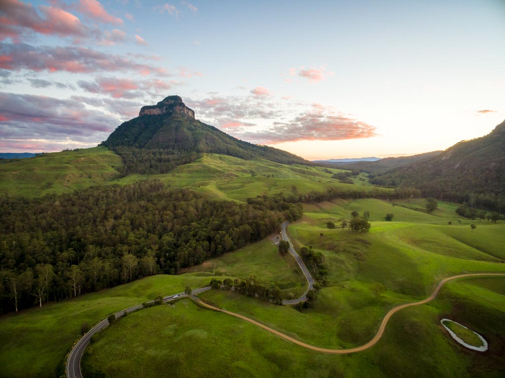 Drone shot of Mount Lindesay at sunset landscape photography