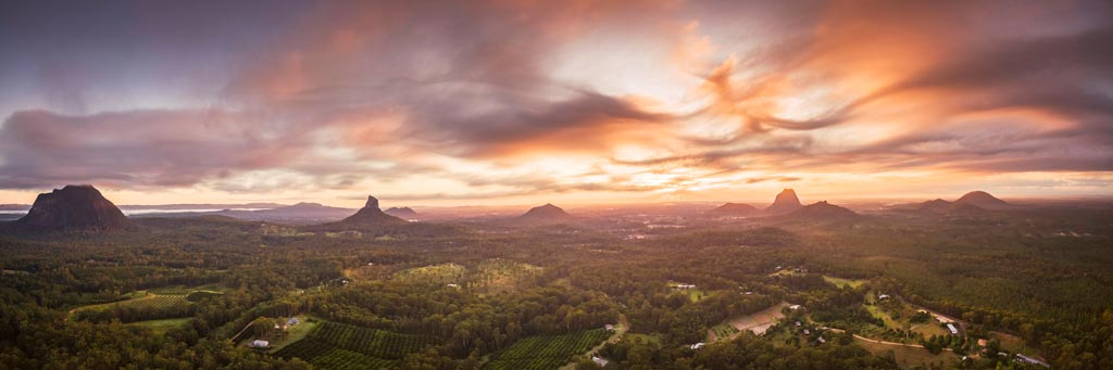 Glasshouse Mountains Panorama at Sunrise