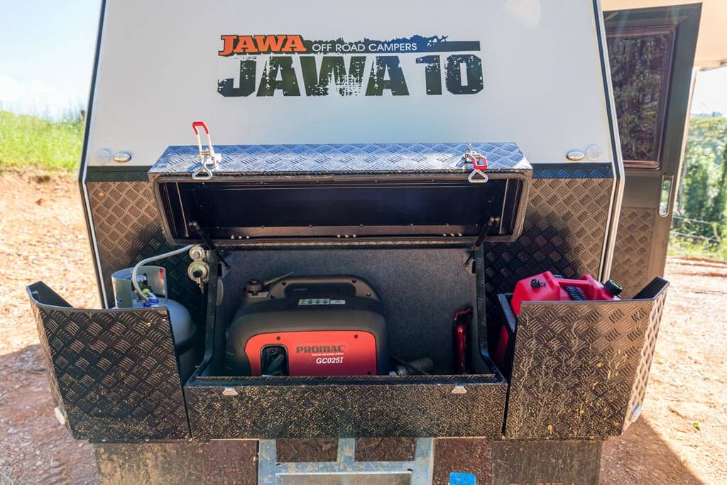 Storage box, gas bottle and jerry can holder on the A-frame