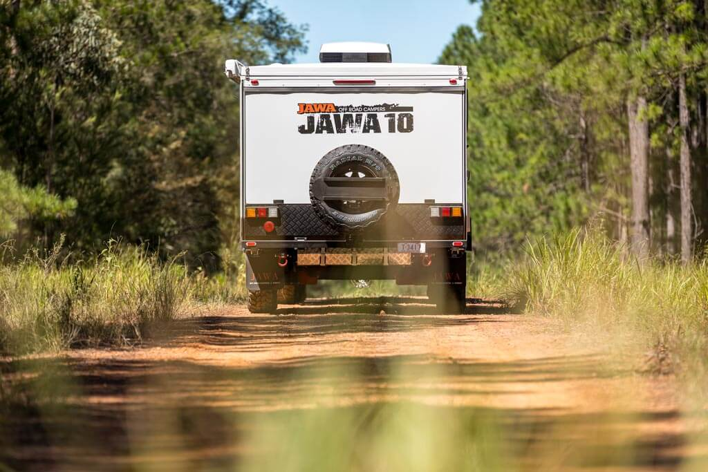 Rear view of the Jawa Trax 10 Hybrid Camper Trailer