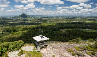 Aerial view of the summit and views from the top of Mt Tinbeerwah - Sunshine Coast Hinterland Towns