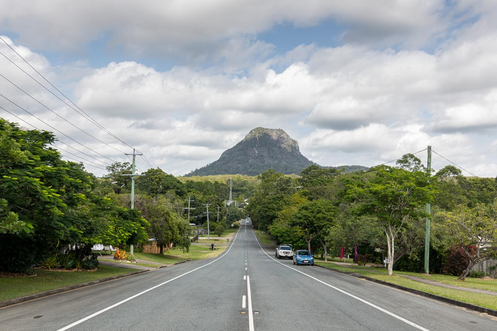 Mt Cooroora in the background over the town of Pomona - Sunshine Coast Hinterland Towns