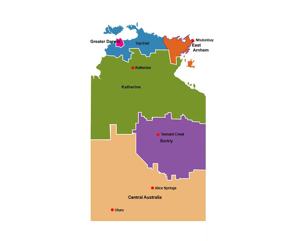 Regions of the Northern Territory Map