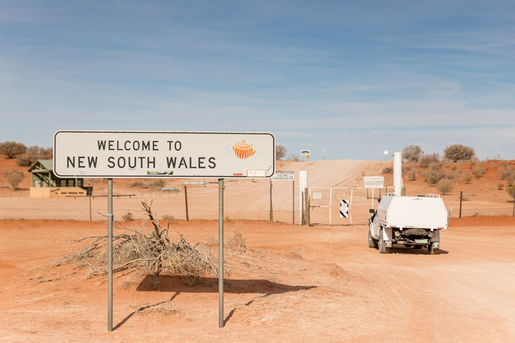 Welcome to New South Wales sign at the border crossing at Cameron Corner