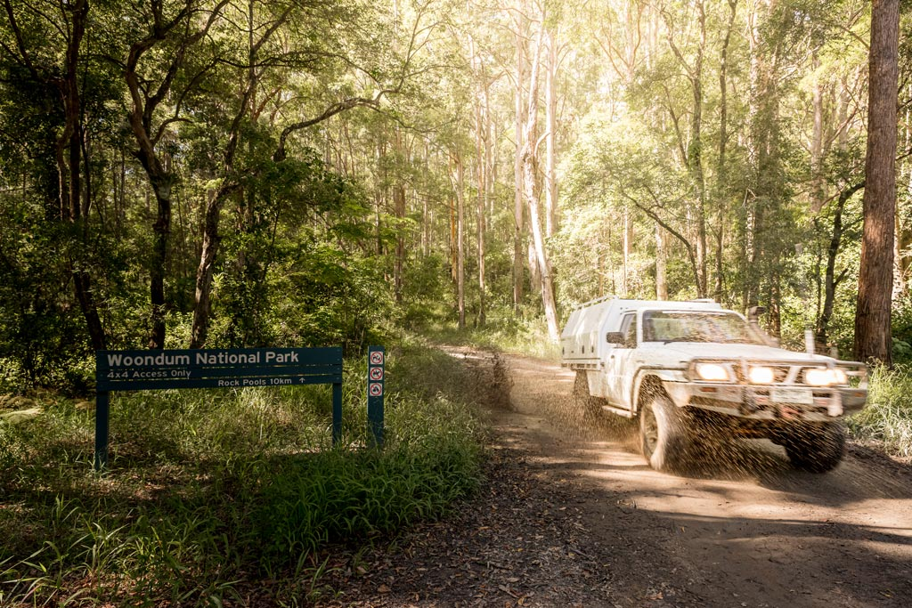 4WD along a dirt track in Woondum National Park