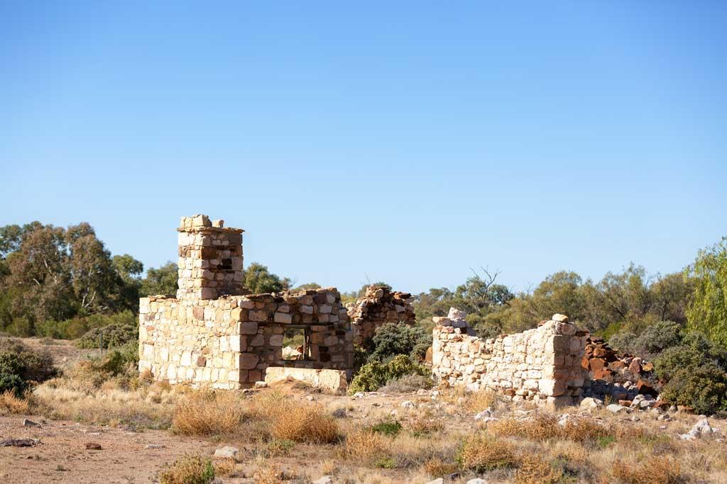 Crumbling building ruins