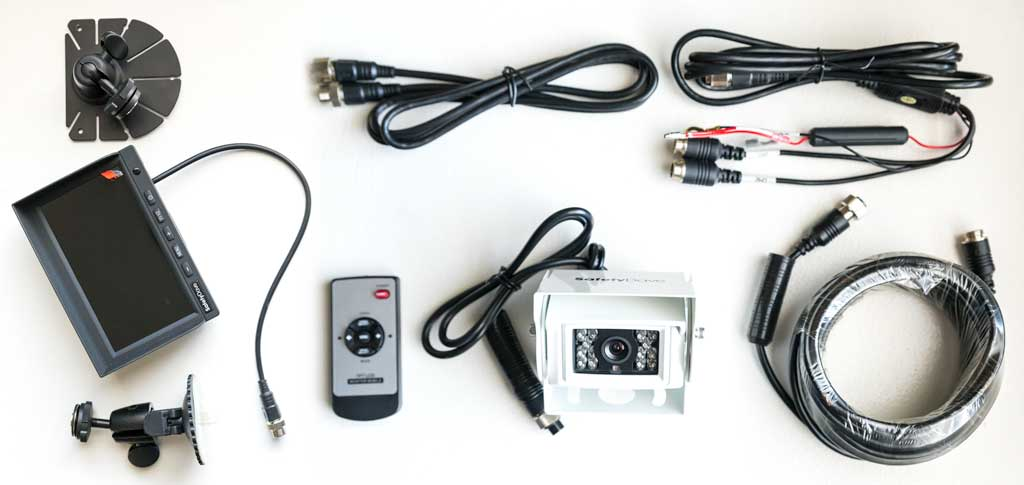 Complete rear vision system with camera, monitor, cables and mounts