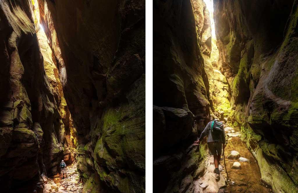 Walking deep inside Mickey Creek Gorge