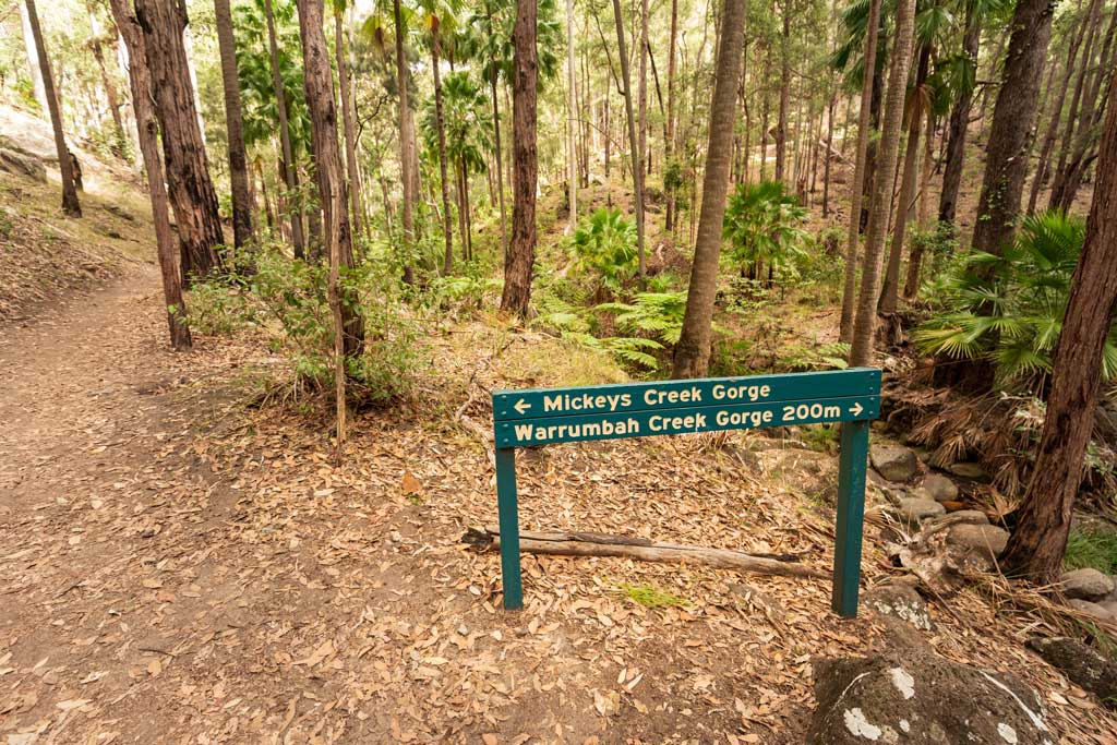 Sign for the walks to Mickey Creek Gorge and Warrumbah Creek Gorge