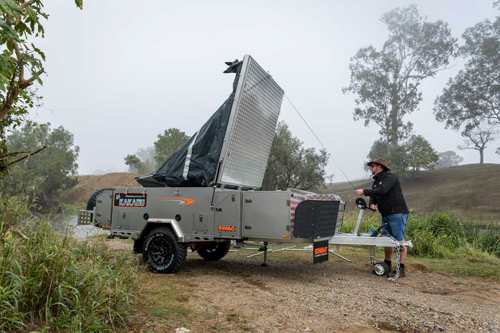 Opening up the forward fold camper trailer
