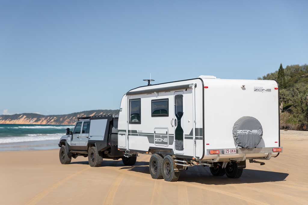 ZONE RV BASE Series caravan on the beach