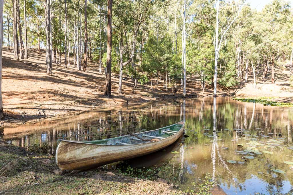 canoe on the dam