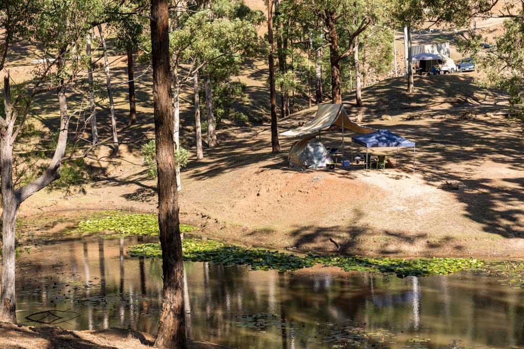 campsite beside the dam